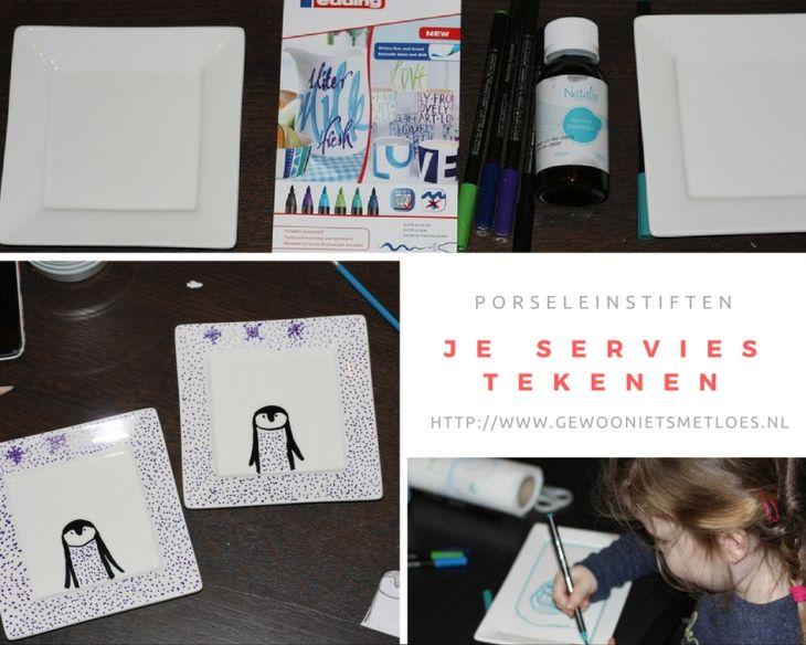 porseleinstiften je servies tekenen