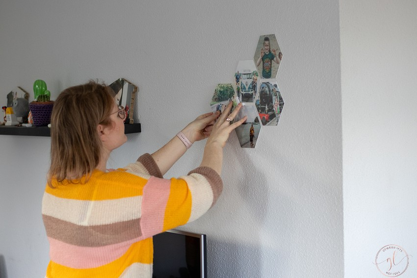 jouw foto op hexagontegels aan de muur